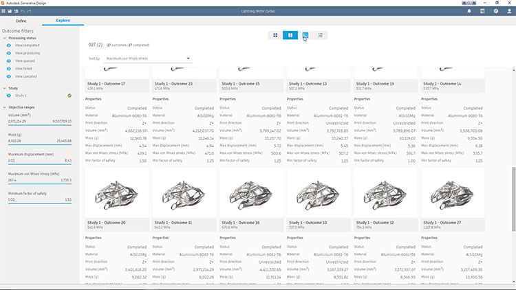 Example of Autodesk's generative design, which uses A.I. to create dozens of possible iterations for one project.