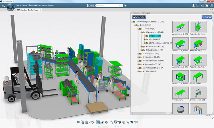 delmia 3dexperience forklift plant design in manufacturing gaming