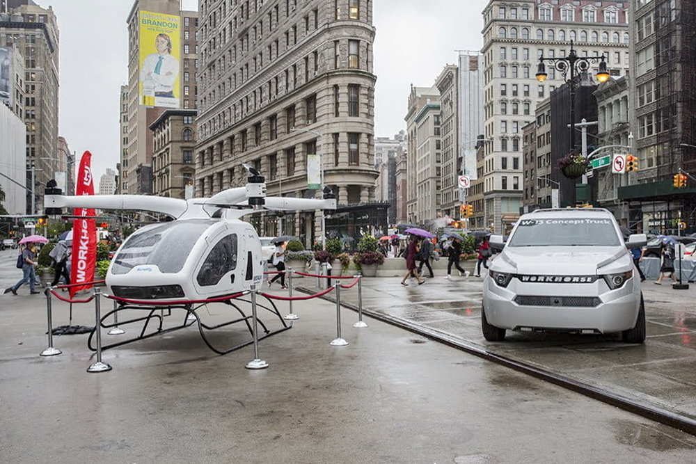 DT: We have the SureFly octocopter and W-15 pickup truck here. Workhorse also builds electric vans and is developing delivery drones. How did you get into so many different projects?