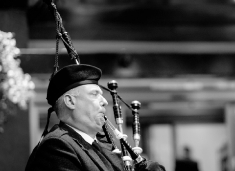 George Taylor, bagpiper at the House of Piping