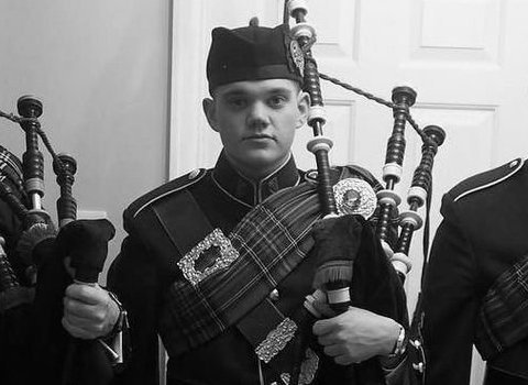 Hugh Deery, bagpiper at the House of Piping