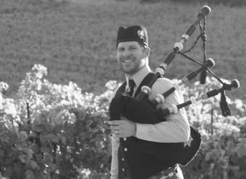 Jonas Pauliukonis, bagpiper at the House of Piping