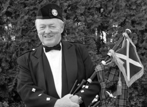 Kevin Grace, bagpiper at the House of Piping