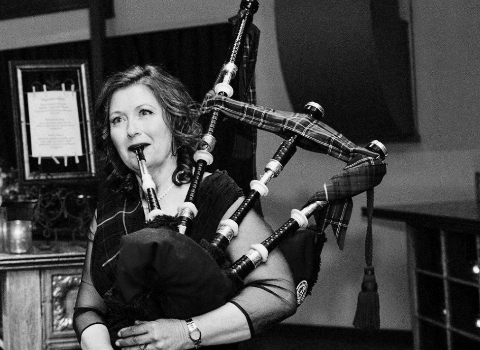 Melody Farquhar-Chang, bagpiper at the House of Piping