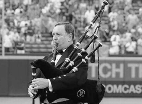 Wayne Coleman, bagpiper at the House of Piping