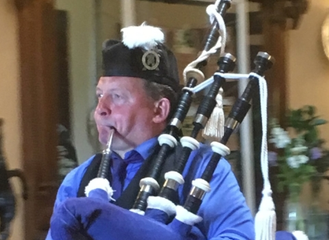 Donald Brown, bagpiper for hire