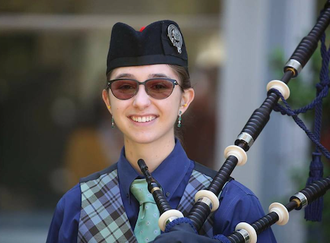 Linda Snoddy, bagpiper for hire