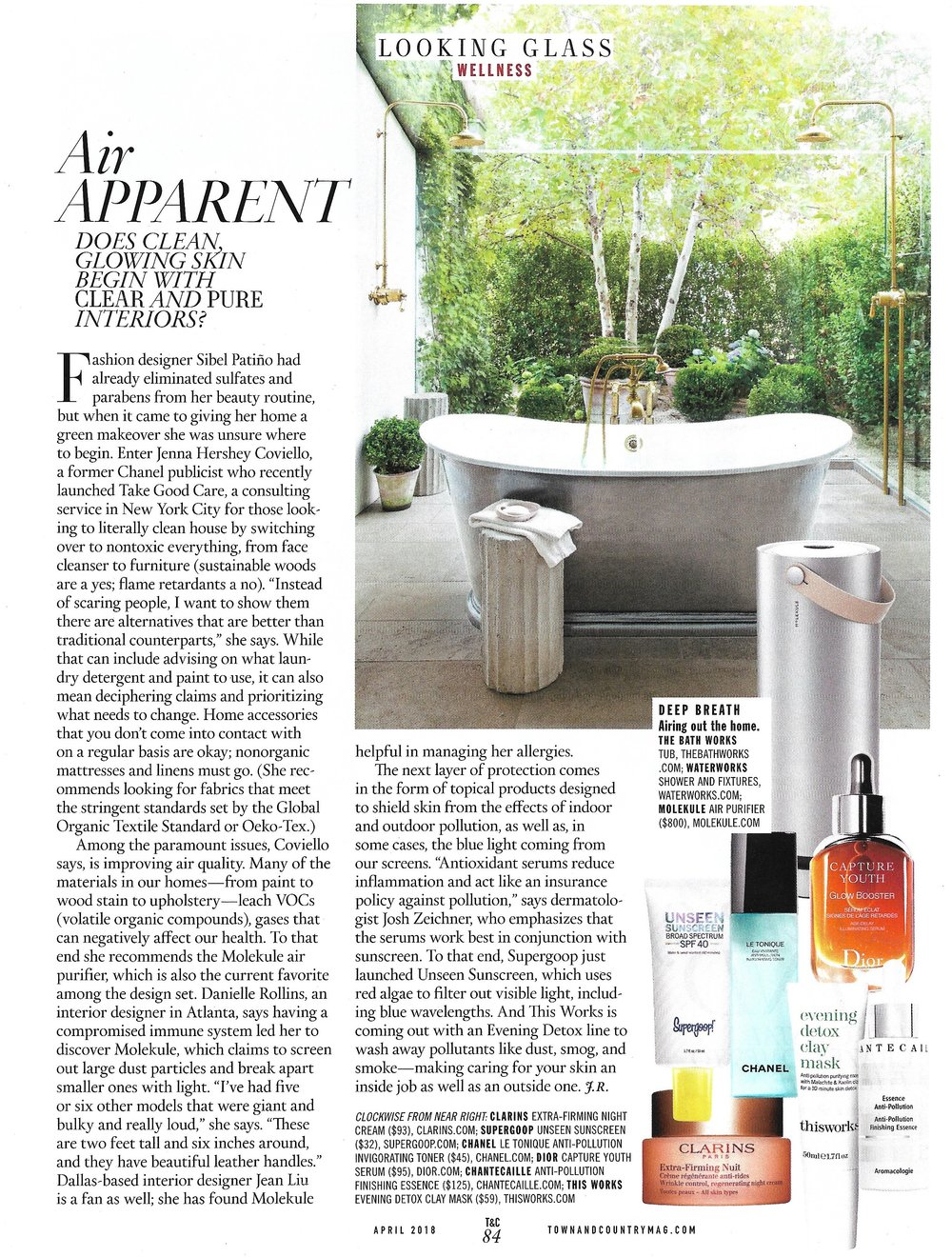 Air Apparent: Does Clean Glowing Skin Begin with Clear and Pure Interiors? - Town & Country April 2018 and  TownandCountryMag.com, March 23, 2018