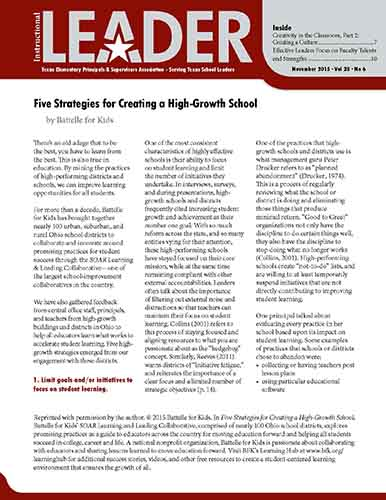 Five Strategies for Creating a High-Growth School    Instructional Leader   Texas Elementary Principals and Supervisors Association