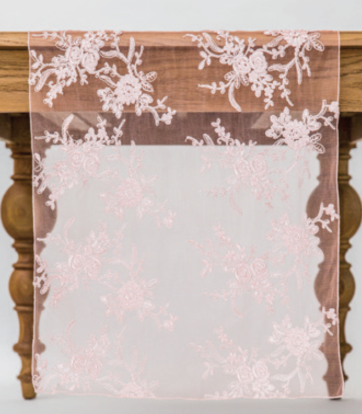 Blush Blossom Lace Runner