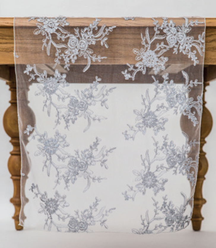 Silver Blossom Lace Runner
