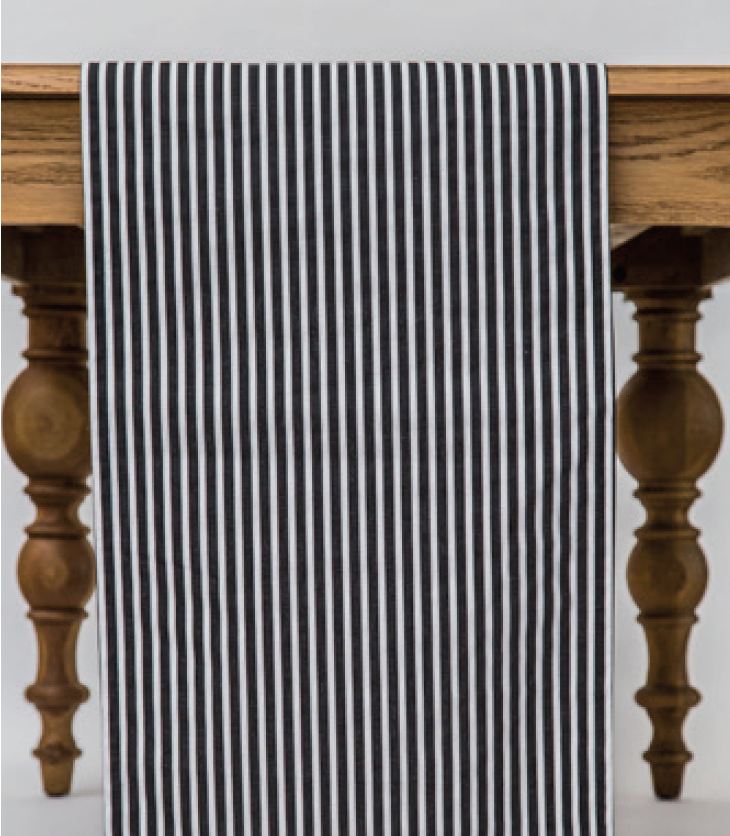 Black and White Cotton Striped Runner