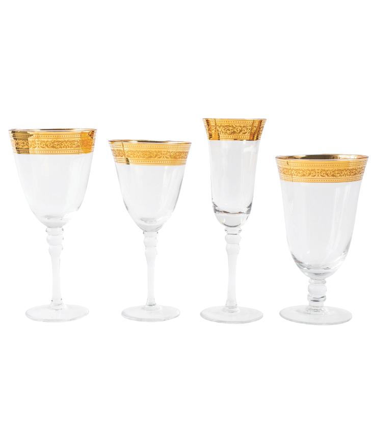 Elizabeth Wide Gold Rim Glassware