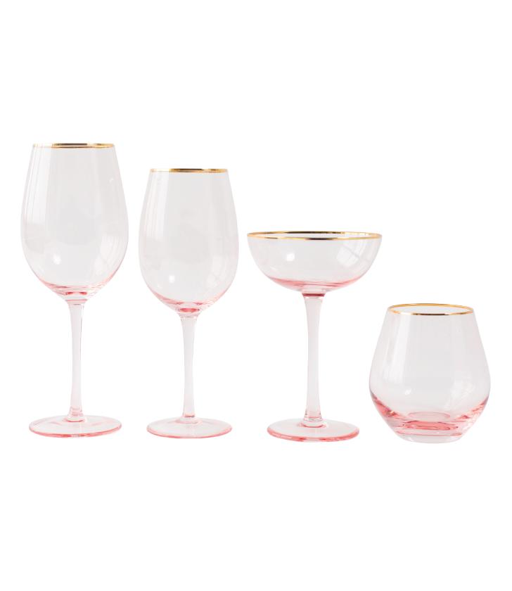 Blush Lauren Gold Rim Glassware