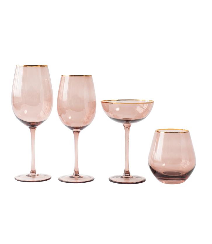 Tan Lauren Gold Rim Glassware