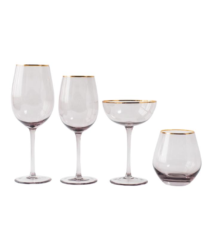 Grey Lauren Gold Rim Glassware
