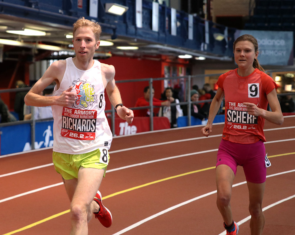 Richards and Scherf during their world-record efforts. Photo: Armory Track