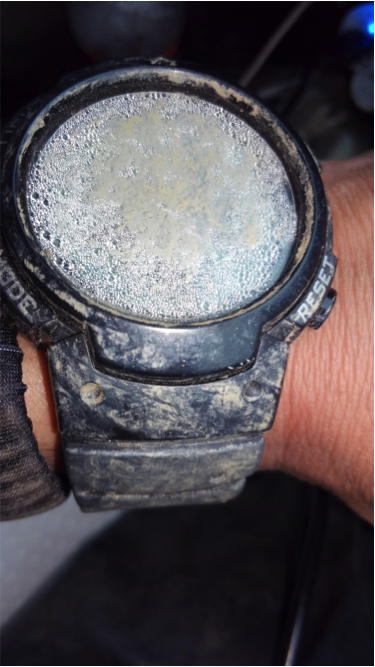 John's race-issue watch (in which the split button had been physically removed) got a bit foggy during the Barkley.