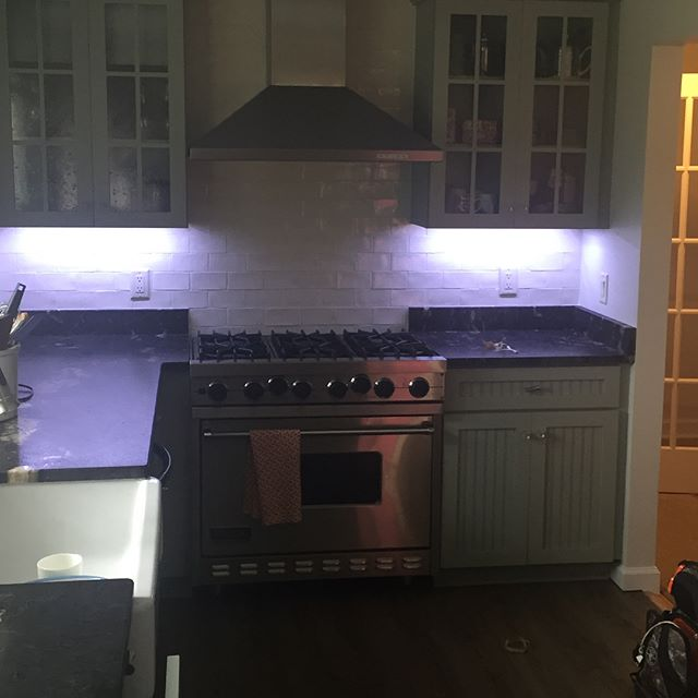 Our team was on site yesterday wiring up some under cabinet lighting for a clients kitchen. Came out great, no more food prep in the dark. Let there be light! #lighting #lightingdesign #LED #undercabinetlighting #kitchendesign #kitchenlighting #kitchen #electric #electrical #electrician #bergencounty #newjersey #nj #light