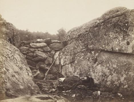 Alexander Garder,  Home of a Rebel Sharpshooter, Gettysburg  from Gardner's Photographic Sketchbook of the War,  (1865)