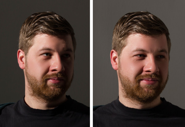 Broad lighting without and with fill