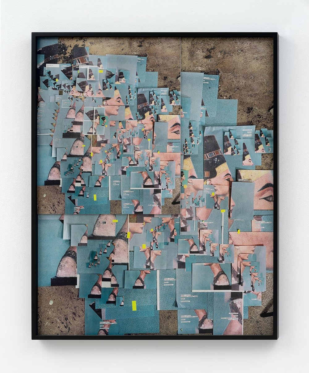 Sara Cwynar,  432 Photographs of Nefertit i, (2015), Collaged UV coated archival pigment prints mounted to Plexiglas and Dibond, 54 × 43 × 7/8 in.