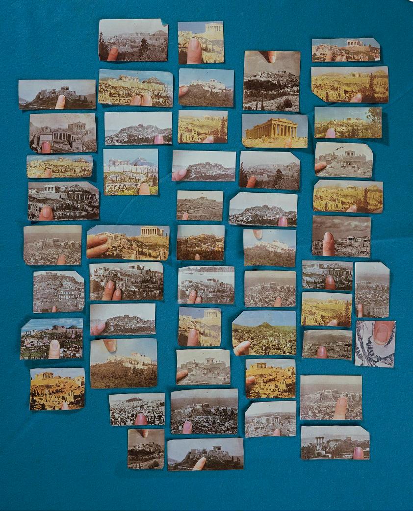 Sara Cwynar,  Encyclopedia Grid (Acropolis) , 2014, chromogenic print mounted to Plexiglas, 40 × 32 in. (101.60 × 81.28 cm.,