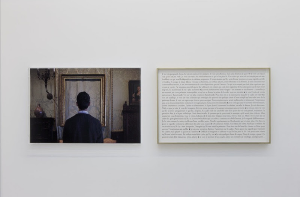 Sophie Calle,  What do you see ? A Lady and Gentleman in Black. Rembrandt , (2013). Colour photograph, text, frames.