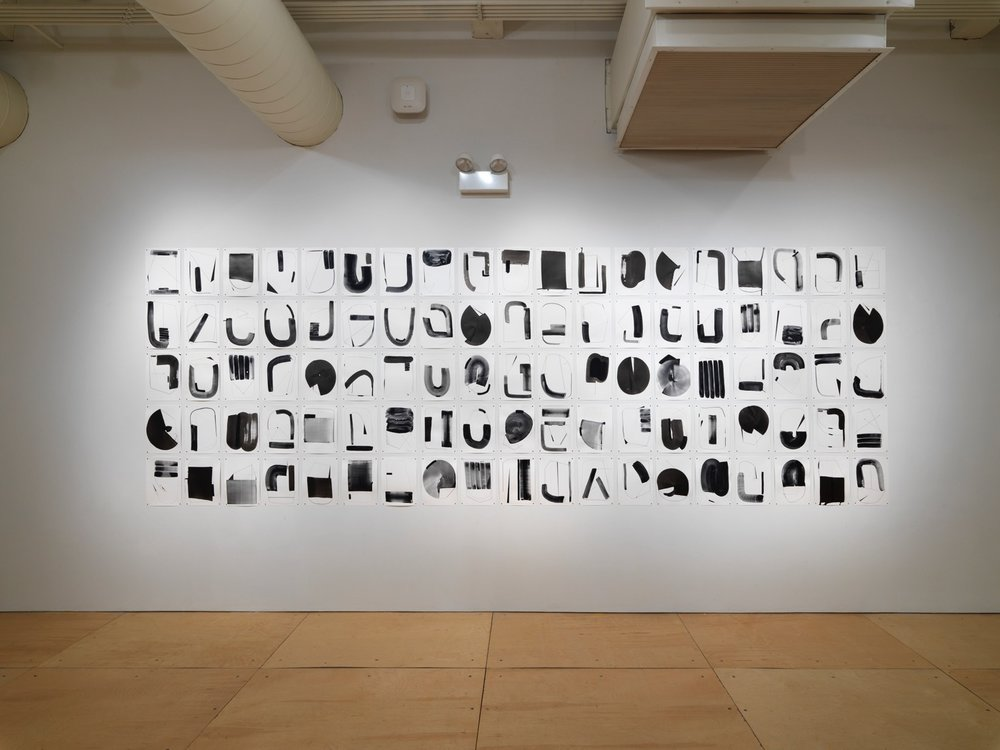 Installation view of Torkwase Dyson's  Untitled (Hypershape ) (2017) at Gallery 400