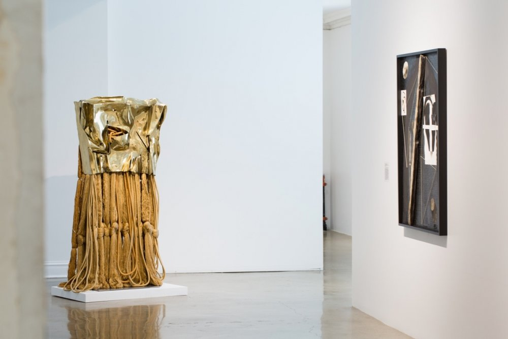 Installation view of Barbara Chase Riboud's  Little Gold Flag  (1985)