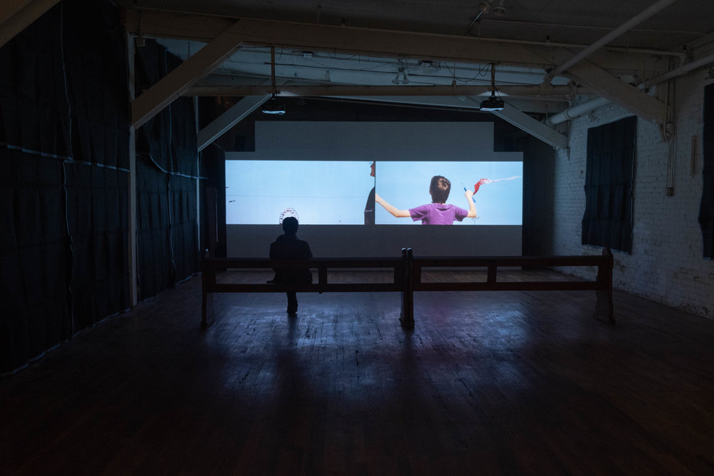 Installation of Alison O'Daniel,  The Tuba Thieves: Nyke and the New York Kite Enthusiasts  (2015) in  Melt My Heart But Spare My Soul . Image by Sarah-Anne Wagoner. Courtesy of Stove Works.