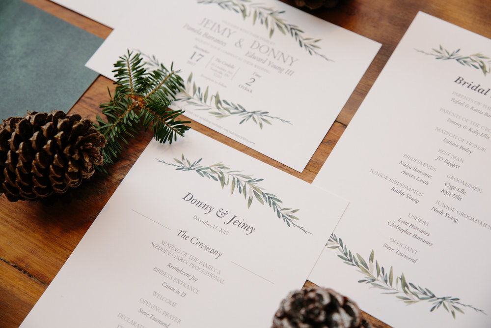wedding invitations arranged beautifully