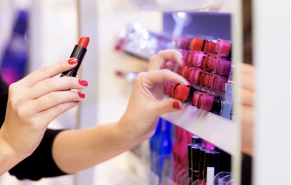Woman shopping for makeup in Shropshire