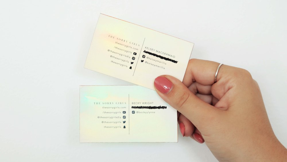 Diy business cards the sorry girls difficulty materials watercolour paper watercolour copper sticker vinyl copper rose gold spray paint this blank business card template colourmoves