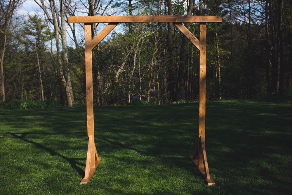 Diy wood wedding arbor the sorry girls in the end youll have a pretty sturdy arch if youre concerned of any wind you can sand bag the arch or drill holes and add stakes through the bottom solutioingenieria Choice Image