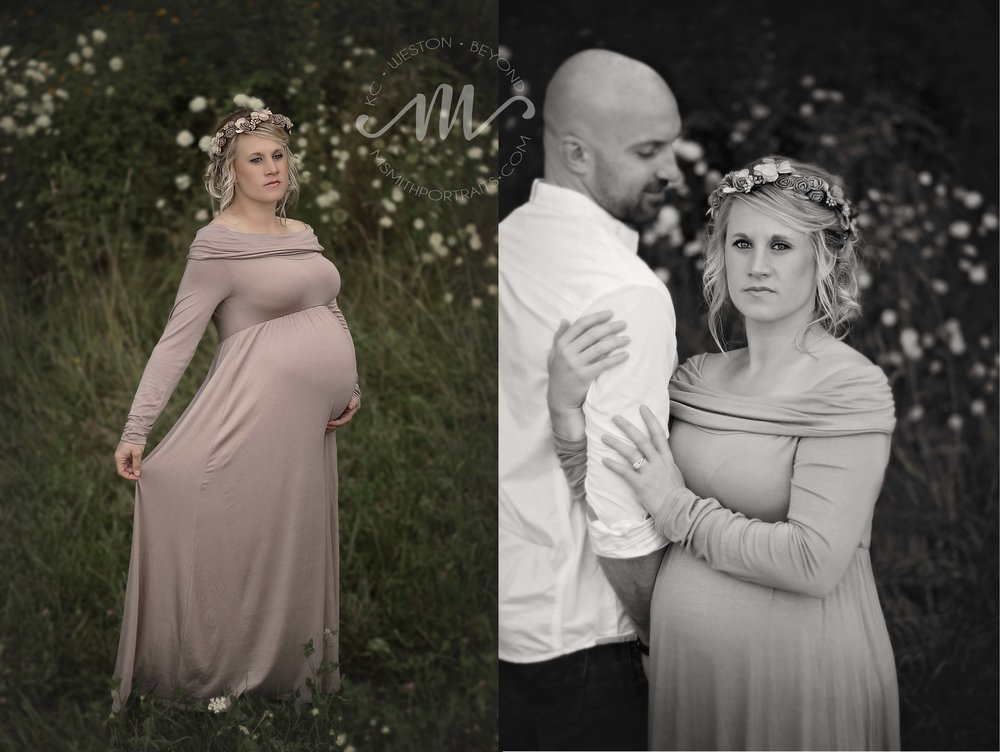 Mauve maternity dress and flower crown