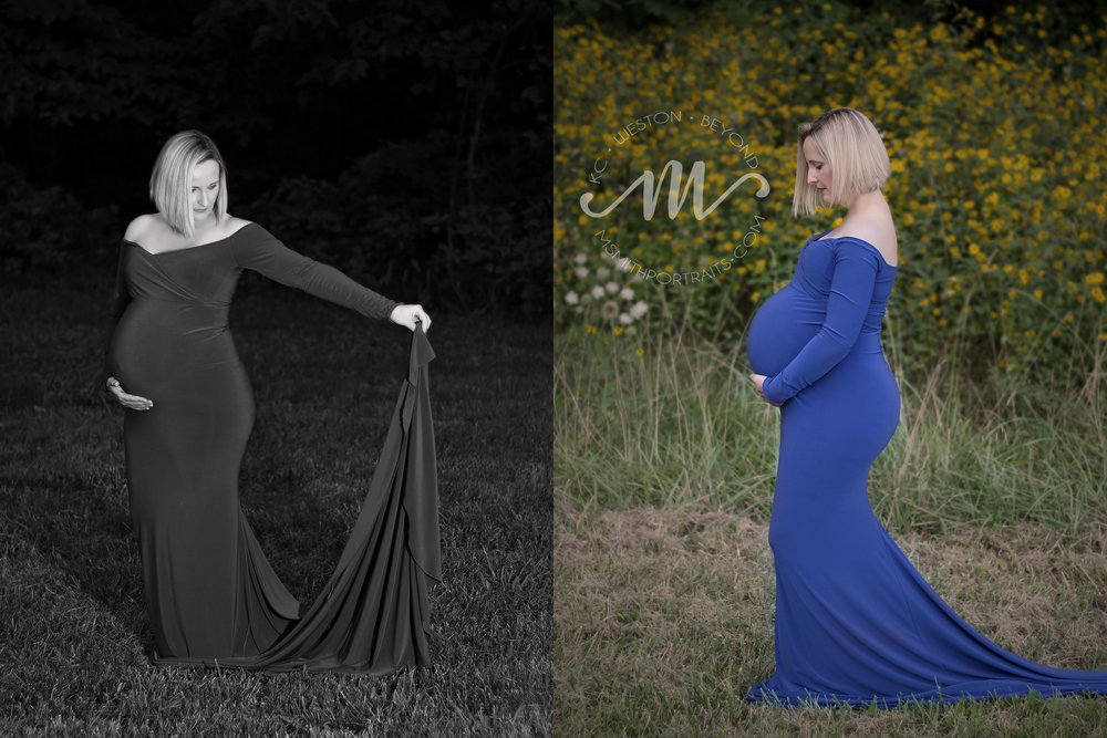 Royal blue maternity gown picture