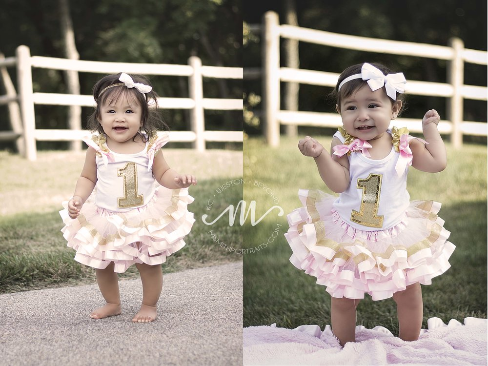 Baby girls first birthday pink and gold outfits