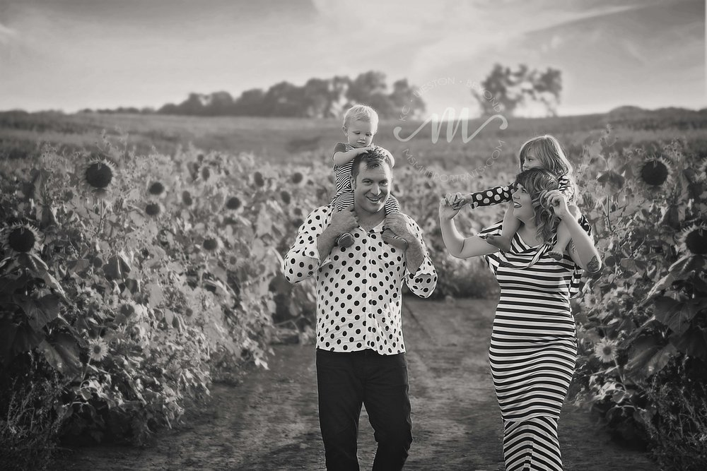 Black and White Family Photo in Sunflower Farm