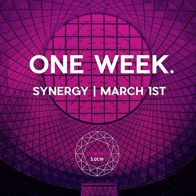 SYNERGY. ONE WEEK. Stay tuned for a ticket giveaway.  Save $2 on tickets online! LINK IN BIO