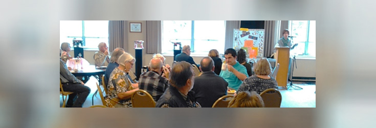 Speaker Program at Emmanuel Lutheran Church in Rockford, IL. Valerie shares her story of healing through art resulting in the founding of FootsieStools Ltd. (Photo by ELC)