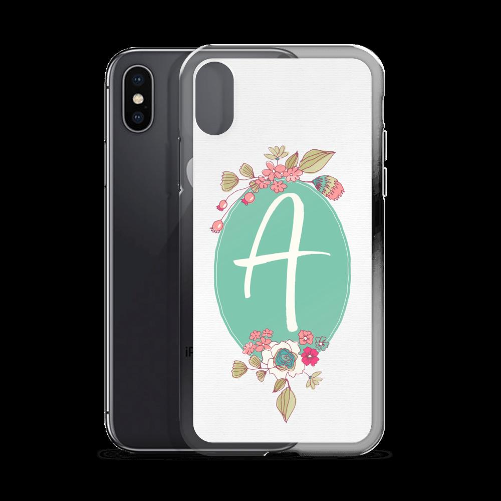 iPhone X case - Initials - Joyful Flowers