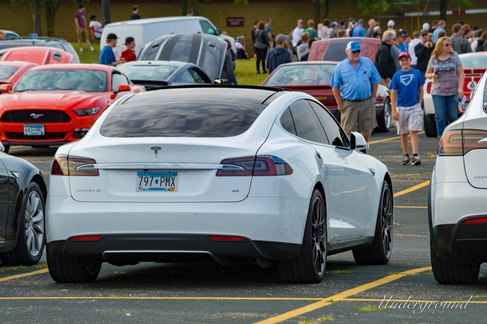 The Tesla is already a staple car at most car shows straight off factory floor.