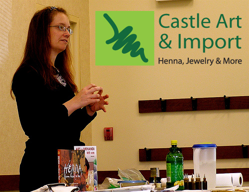 Amy Wilde (Castle Art & Import) has been importing henna since 1997. She is well versed in the henna arts and has taken many seminars and classes about henna. Amy is certified via International Certification for Natural Henna Arts. She has also been doing henna at local fairs and festivals for 15+ years.