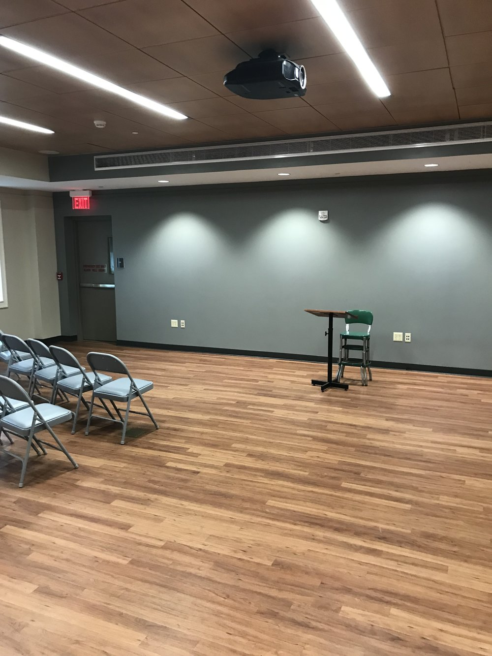 The Robert D. Norris Community Room  located on the first floor (seats 75)   Available Equipment : Projector and Screen, DVD Player, portable microphone, podium.