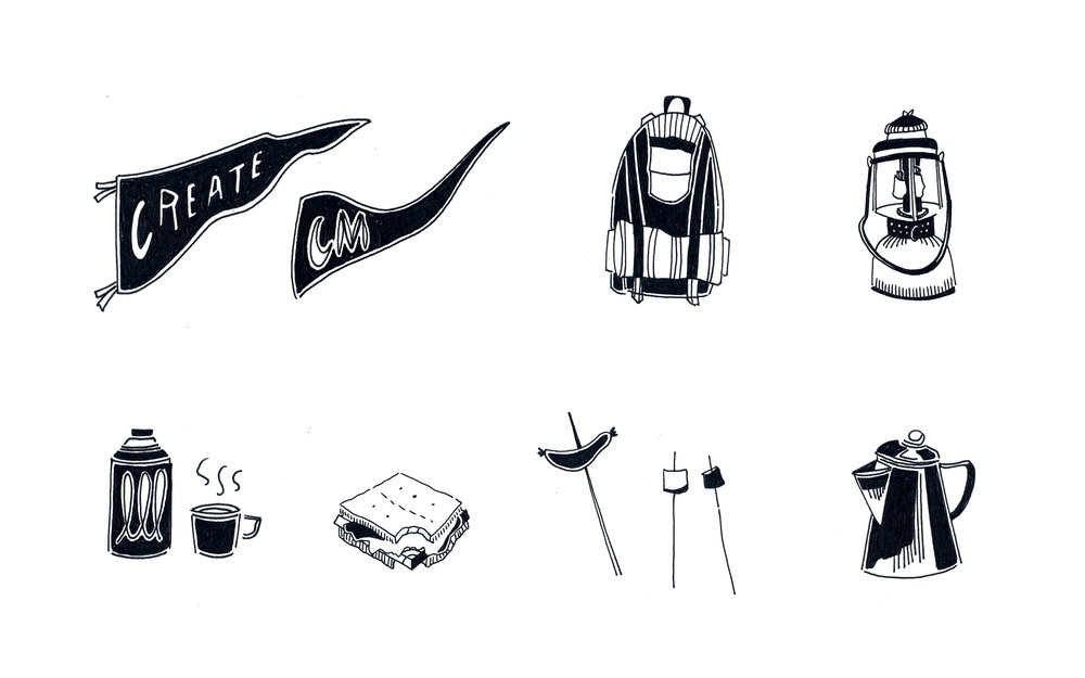 Spot illustrations for hand book and postcards