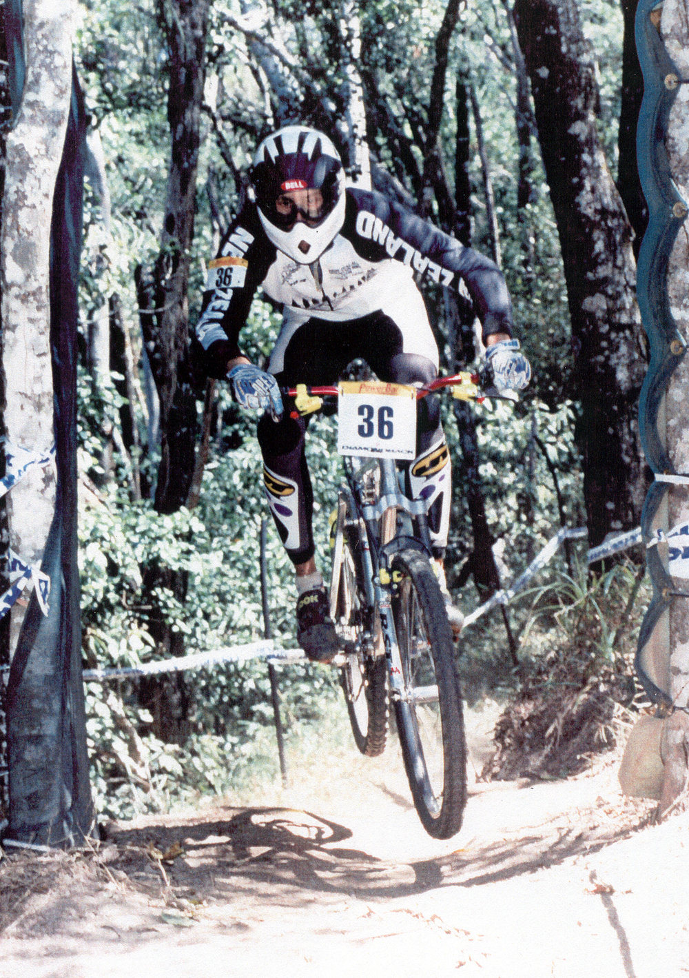1996 World Championships, Cairns. Home made suspension link to give 150mm travel.