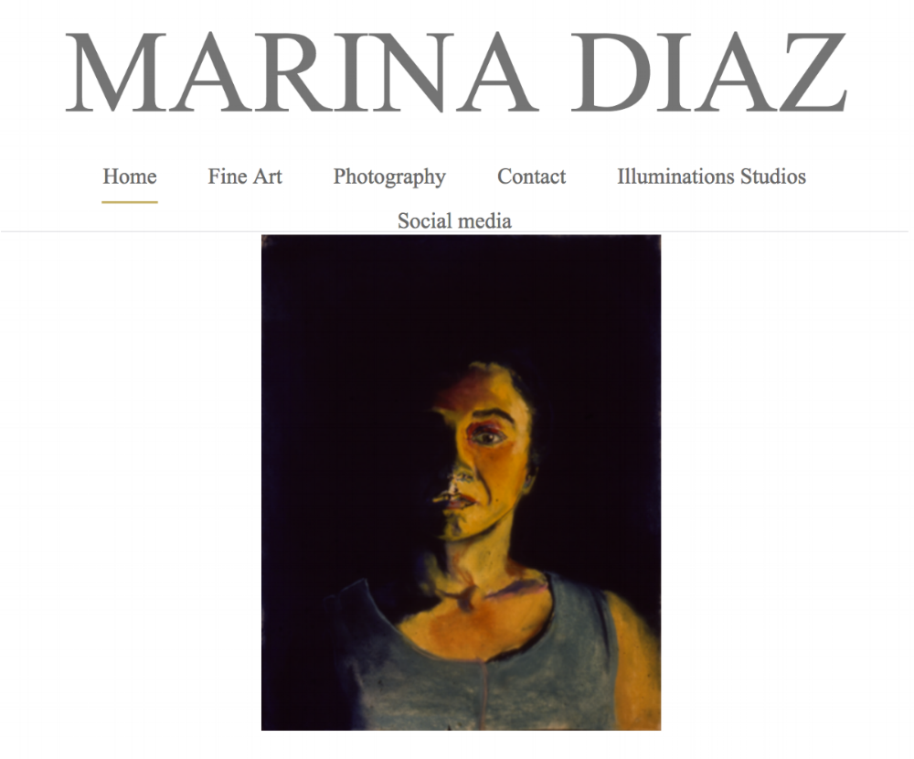 Screen shot from the website for Marina Diaz