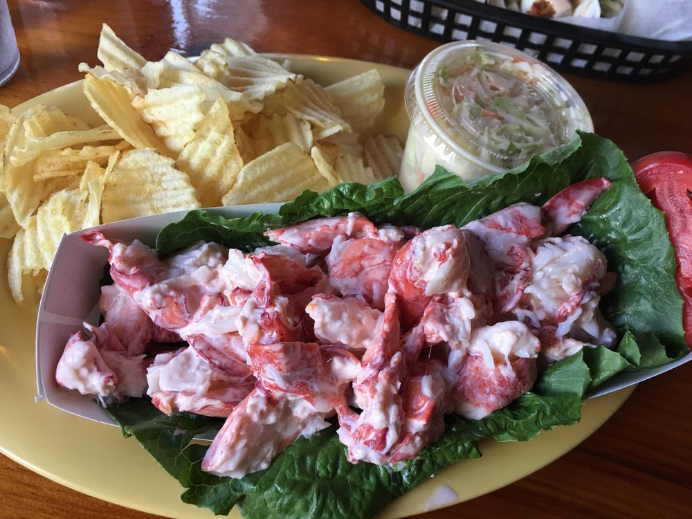 Lobster roll, hold the roll! At The Lobster Shack in Perkins Cove.