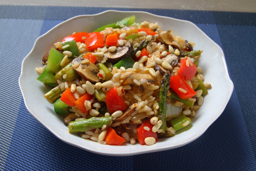 Veggie (Jasmine) rice with asparagus, peppers, mushrooms, onion, garlic, and pine nuts.